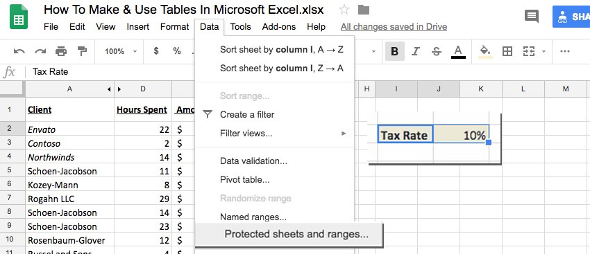 How to Protect Cells in Google spreadsheet