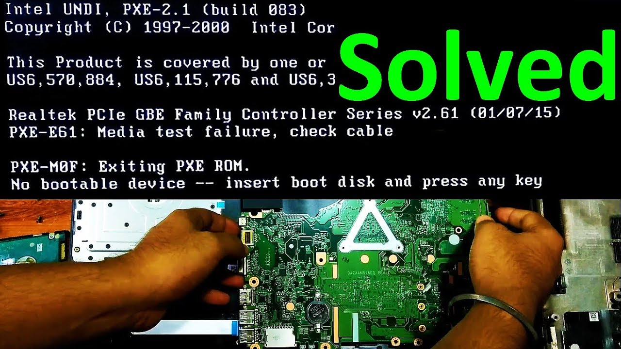 """Image result for How to fix boot error """"PXE-E61: Media test failure, check cable"""""""