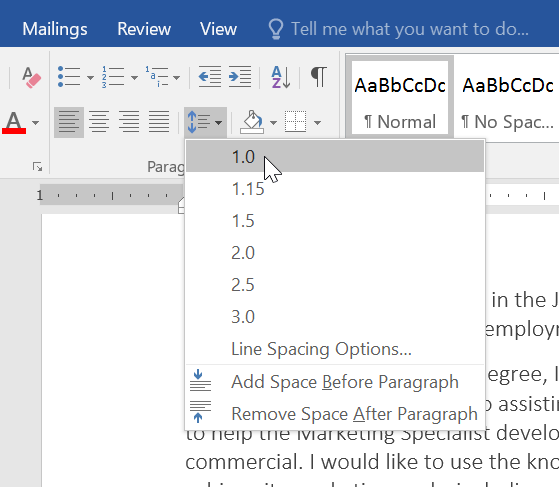 Image result for ms word spacing